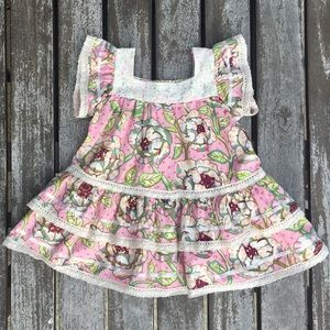 3T Mustard Pie Pink and Cream Lace Layer Dress